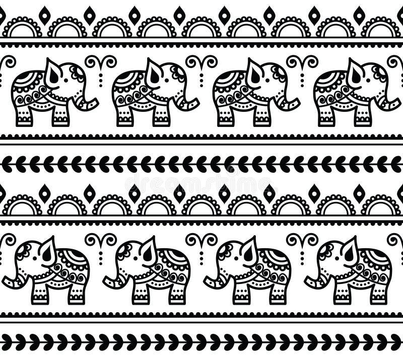 Mehndi, картина индийской татуировки хны безшовная с слонами бесплатная иллюстрация