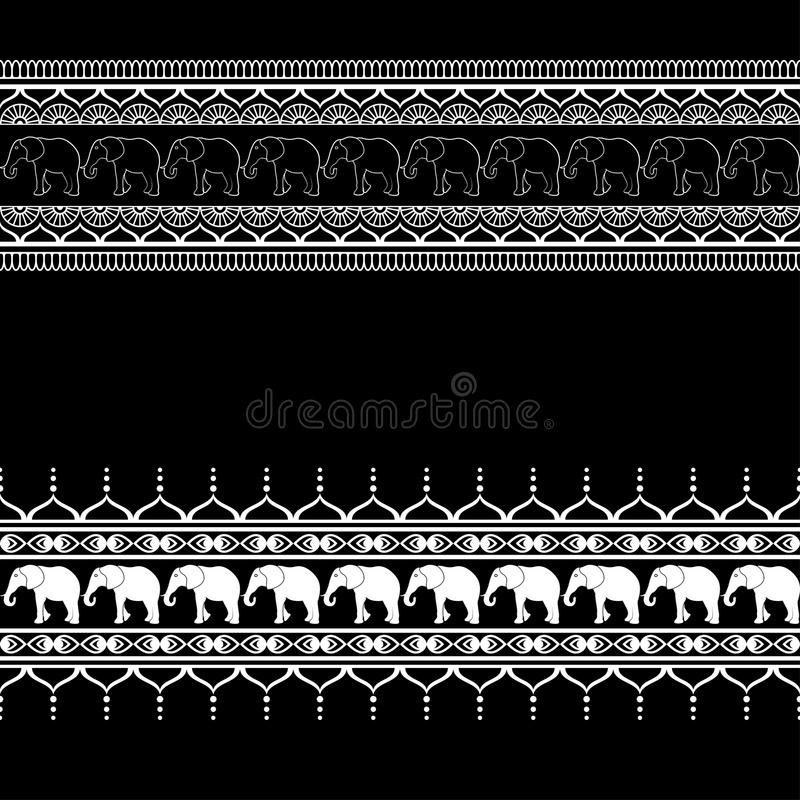 Mehndi border pattern elements with elephants and flower line lace in Indian style isolated on black background. royalty free illustration