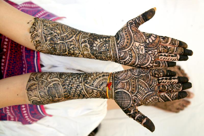 Mehndi Hand Image : Mehndi design in wedding girl`s hand stock image of
