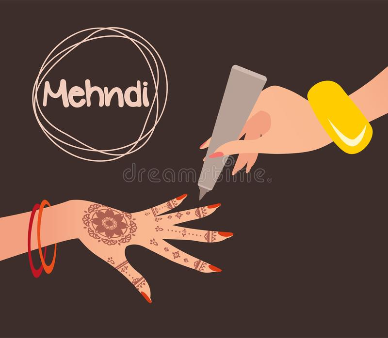 Mehndi Design. Henna tattoo. Vector illustration stock illustration