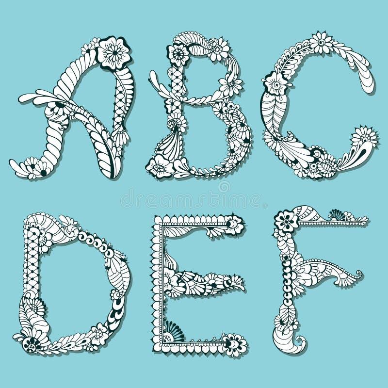 Mehndi floral d'alphabet illustration libre de droits