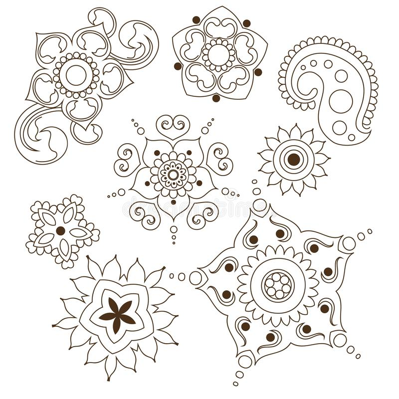 Mehndi flower indian pattern isolared on white background design for henna drawing or tattoo. Vector ornament. Illustration vector illustration
