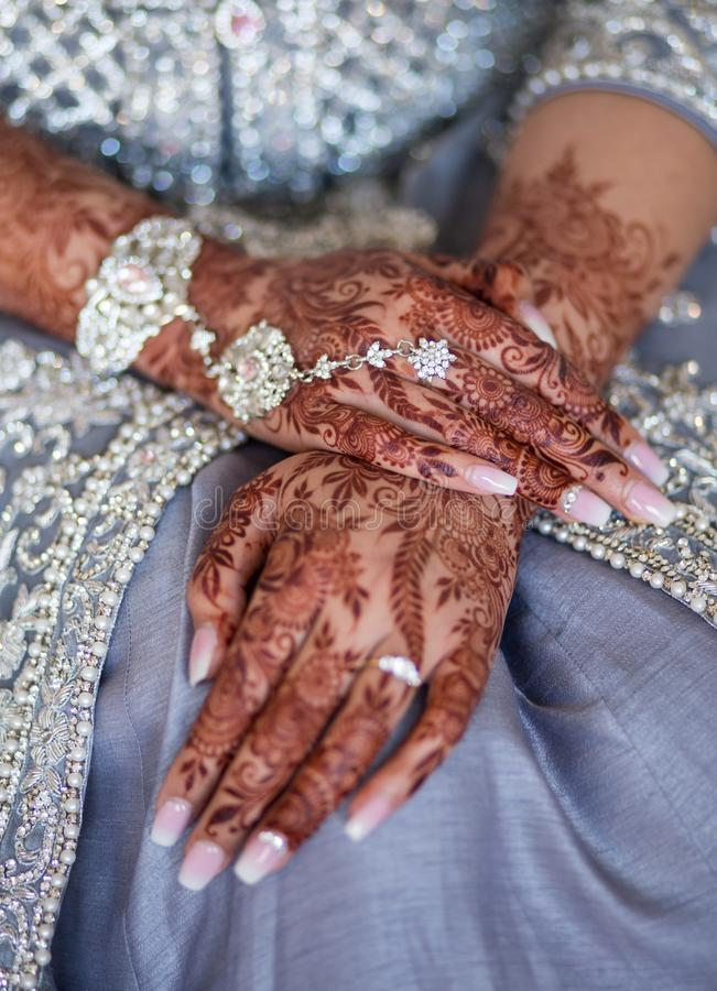 Wedding Mehndi on bride`s hands. Mehndi is a form of body art originating from the Arabian peninsula, in which decorative designs are created on a person`s body royalty free stock images