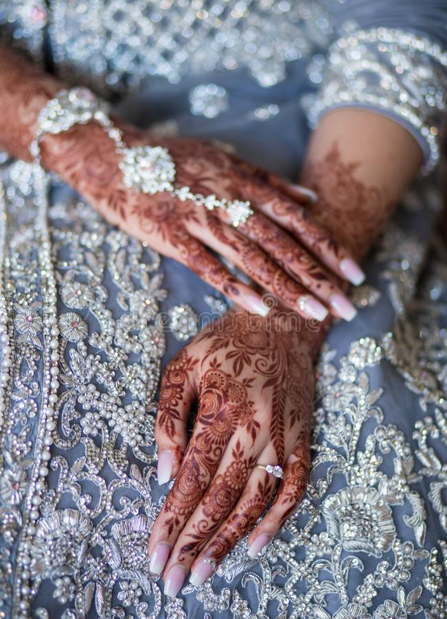 Wedding Mehndi on bride`s hands. Mehndi is a form of body art originating from the Arabian peninsula, in which decorative designs are created on a person`s body royalty free stock photography