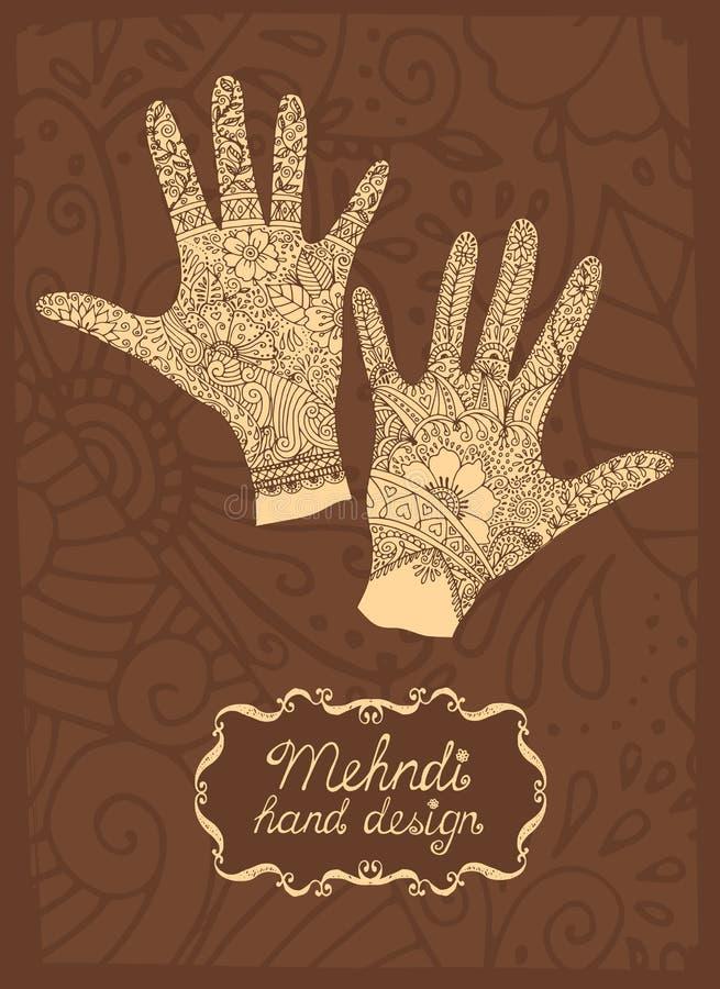 Mehndi Hand design stock illustration
