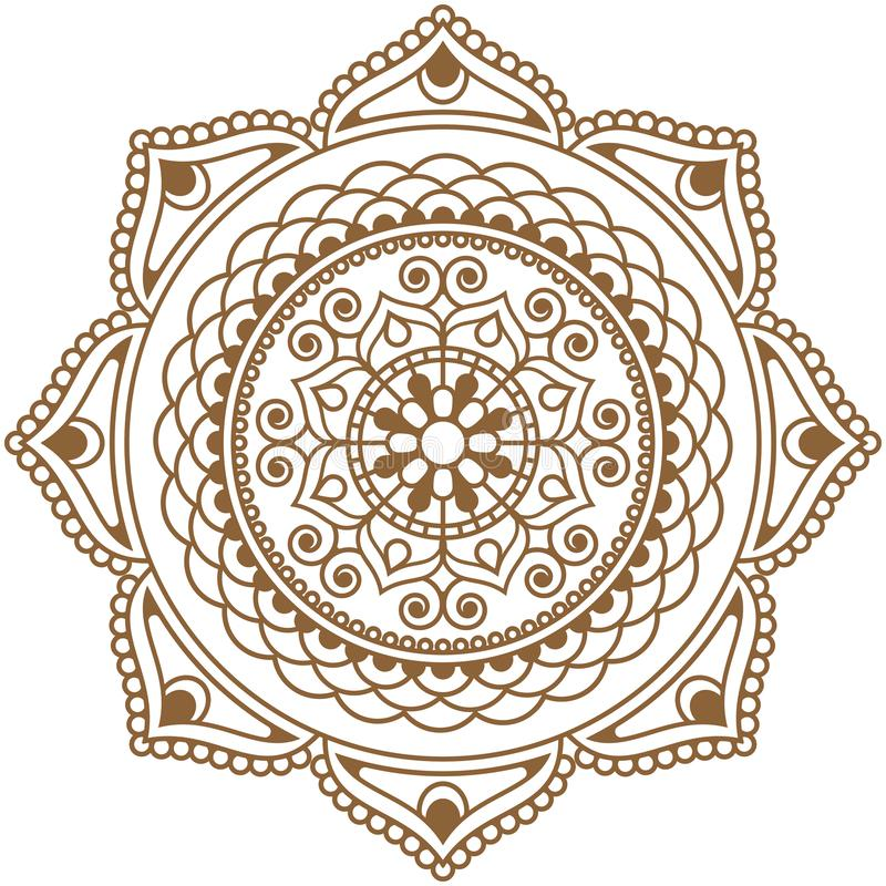 Free Mehndi Henna Brown Indian Element Flower Mandala For Tatoo Or Card Stock Image - 137705401