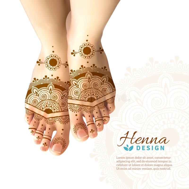 Mehndi Henna Woman Feet Realistic Design vector illustratie
