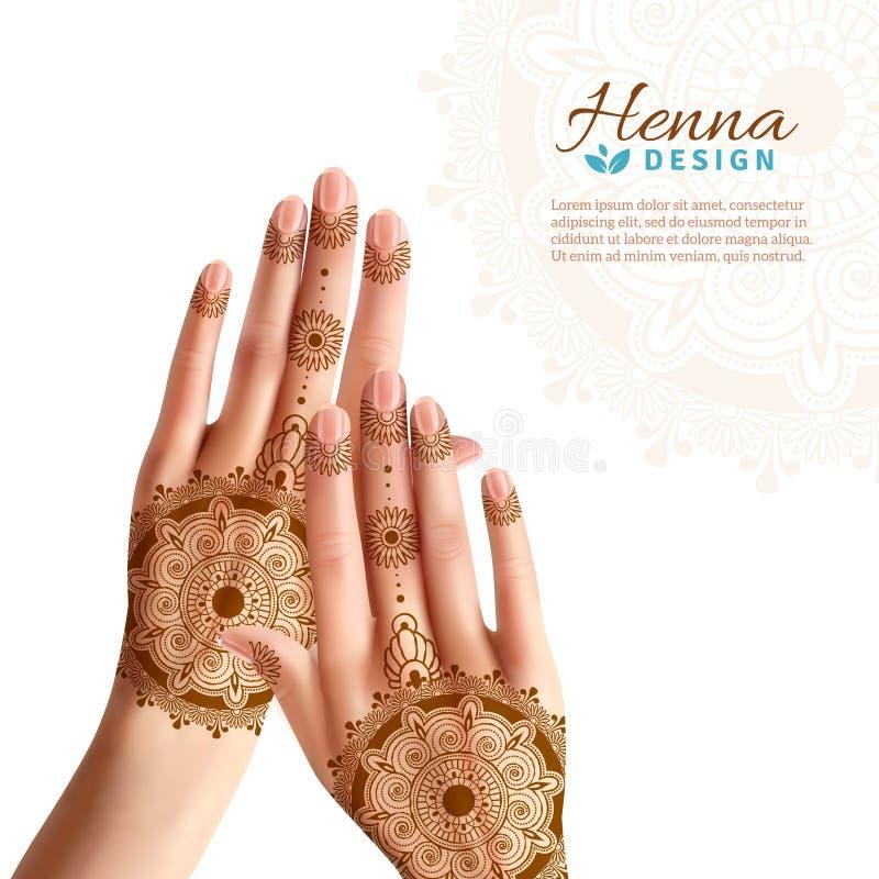 Mehndi Henna Woman Hads Realistic Design vector illustration