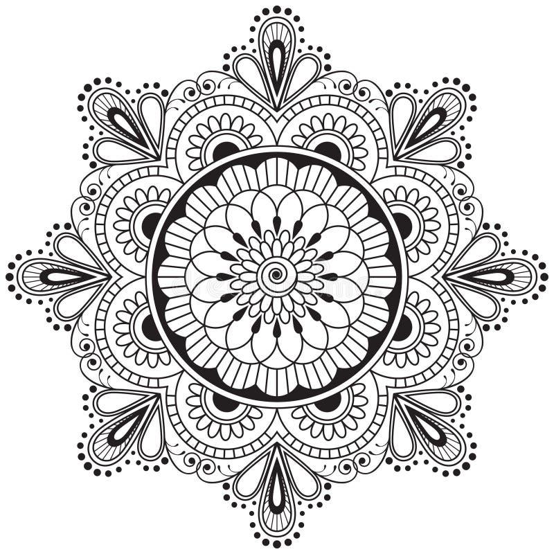 Mehndi henny elementu kwiatu Indiański mandala dla tatuażu lub karty ilustracji