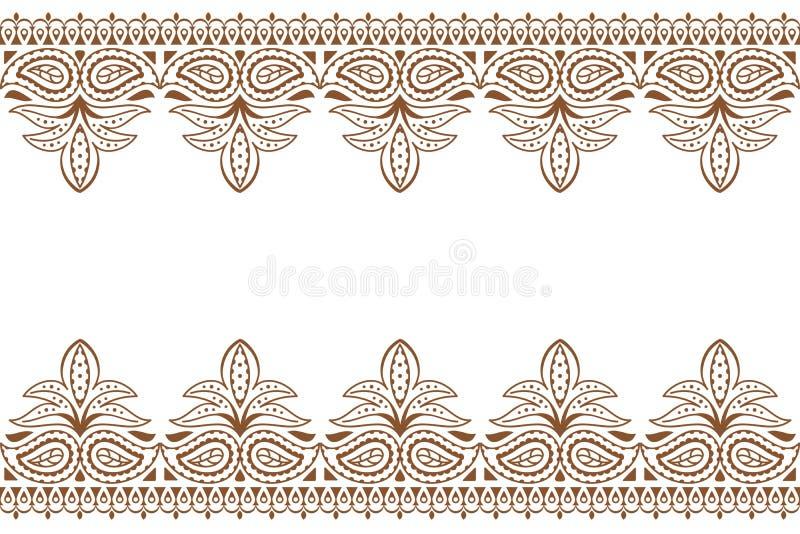 Mehndi-Hintergrund Indische Stickereidesign wuth Hennastrauchverzierung Hochzeit mackdrop lizenzfreie abbildung