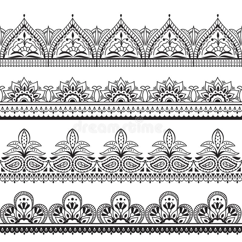 Mehndi indian design. Henna oriental seamless borders. Indian floral ornament vector frames. Illustration of border seamless pattern tattoo embellishment vector illustration