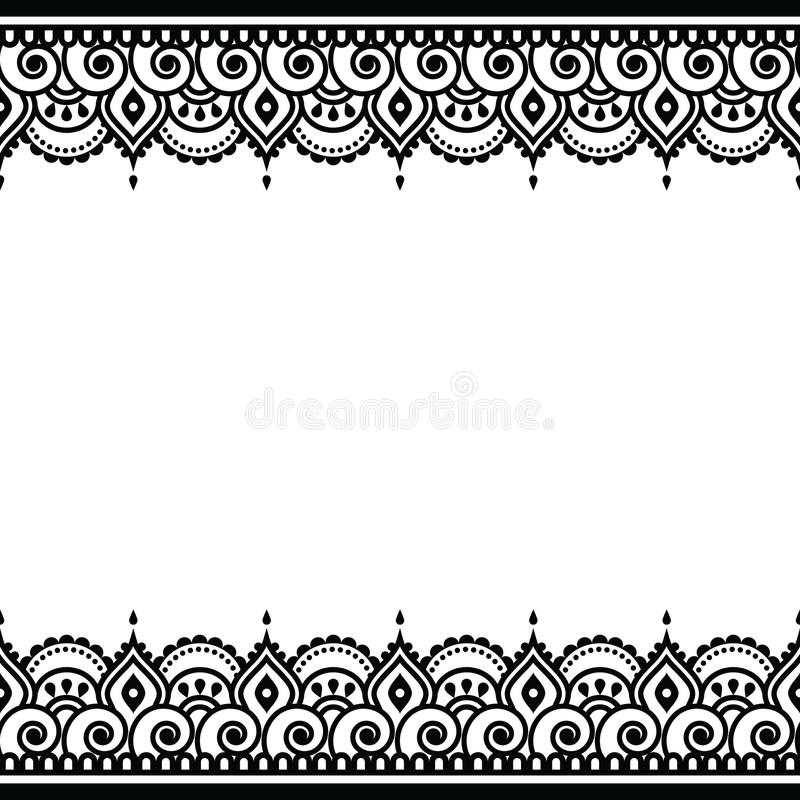 Line Art Card Design : Mehndi indian henna tattoo design greetings card lace