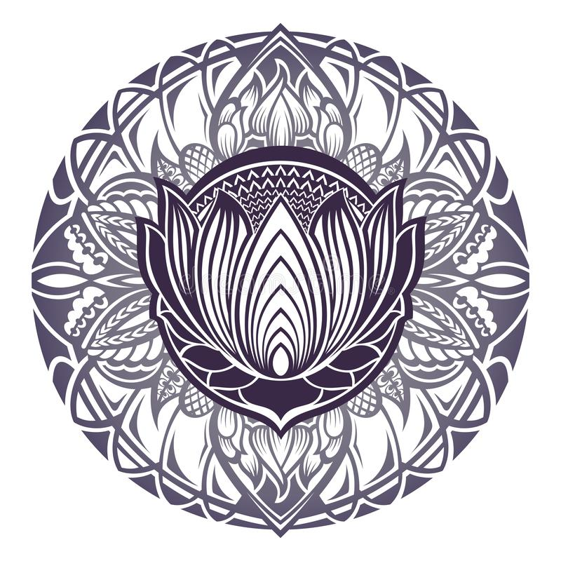 Mehndi lotus flower with floral frame vector illustration