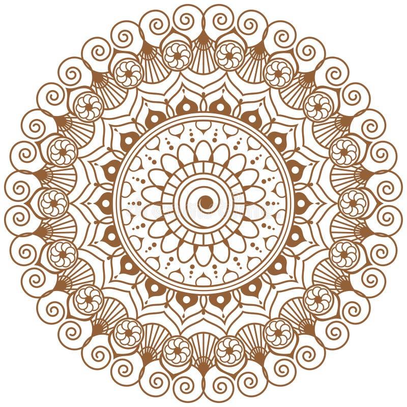 Mehndi-Mandala-Braunblume in der indischen Hennastrauchart für tatoo oder Karte stock abbildung