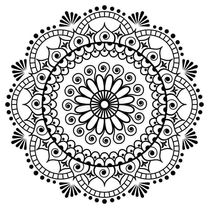 Mehndi mandalablomma i indisk hennastil för tatoo eller kort stock illustrationer