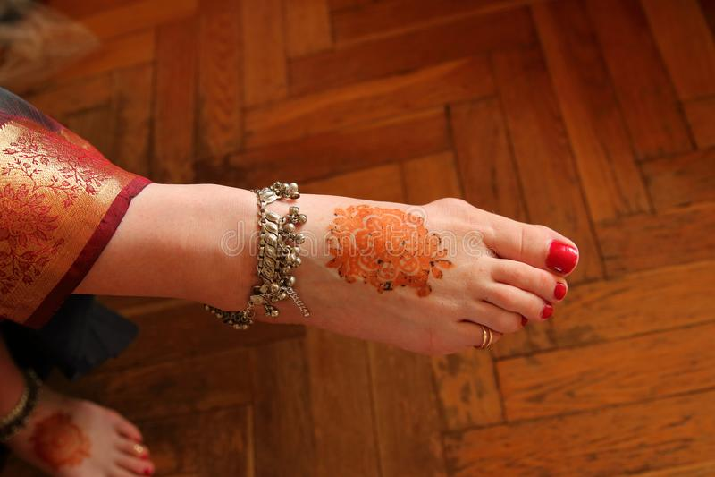 Mehndi On Wedding Day Stock Image Image Of Middle Foot 123720757