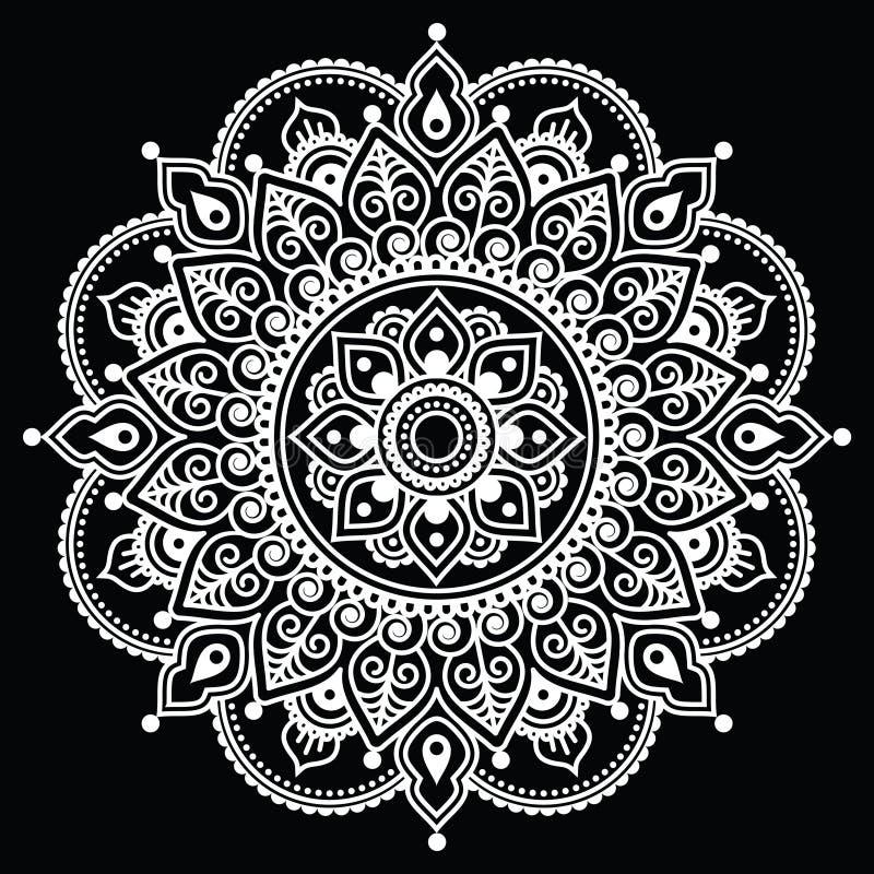 Mehndi, modello bianco del tatuaggio indiano del hennè su fondo nero illustrazione di stock