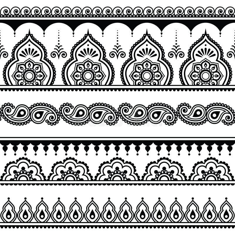 Mehndi, modello senza cuciture del tatuaggio indiano del hennè, elementi di progettazione illustrazione vettoriale