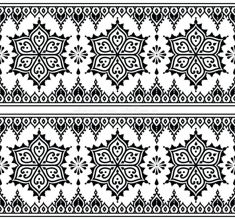 Mehndi, modelo inconsútil del tatuaje indio de la alheña, elementos del diseño stock de ilustración