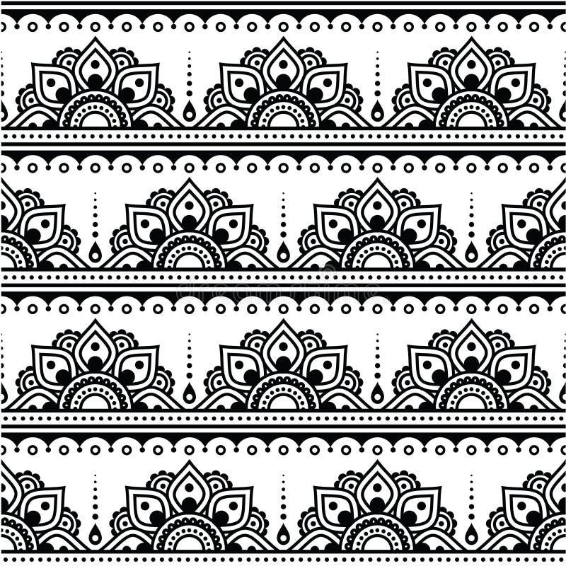 Mehndi, modelo inconsútil del tatuaje indio de la alheña, elementos del diseño ilustración del vector