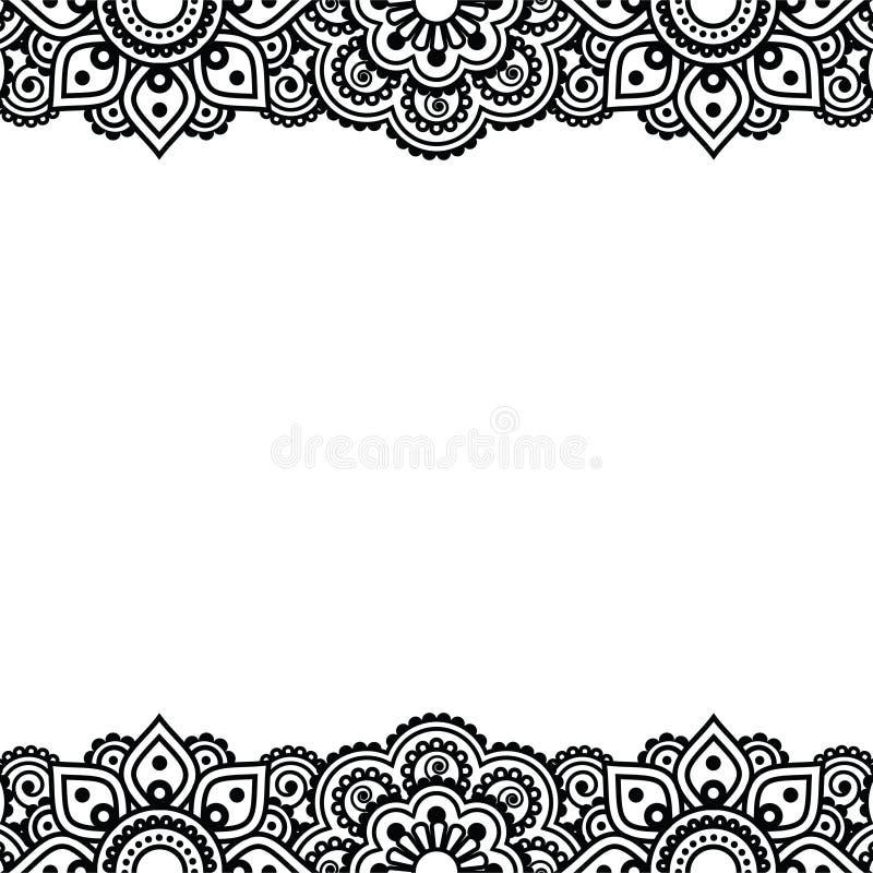 Mehndi, progettazione indiana del tatuaggio del hennè - cartolina d'auguri, ornamento del pizzo royalty illustrazione gratis