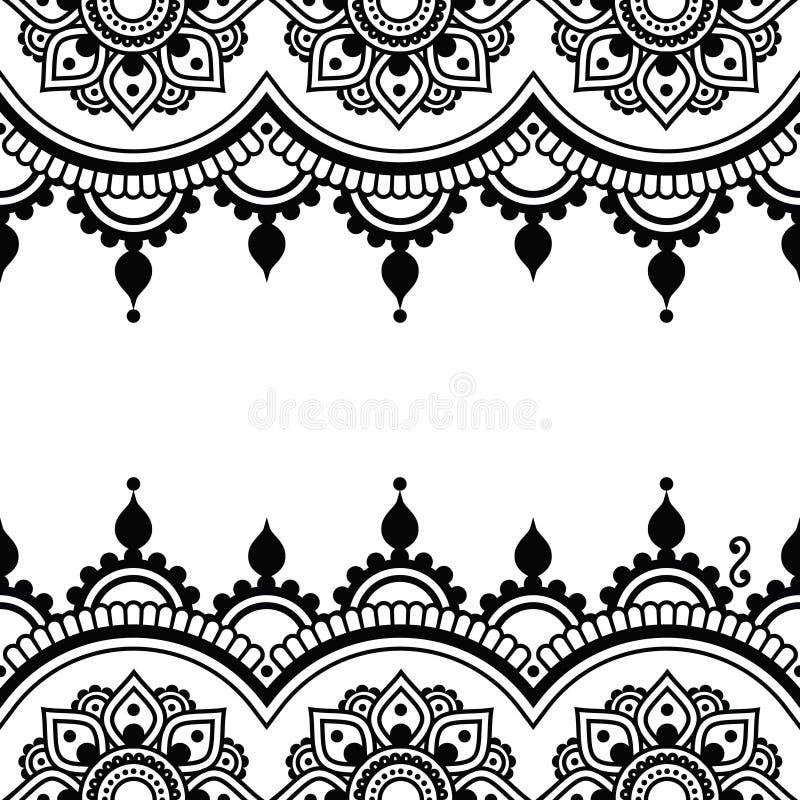 Mehndi, progettazione indiana del tatuaggio del hennè - cartolina d'auguri, ornamento del pizzo illustrazione di stock