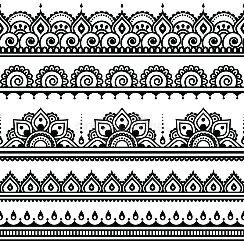 Mehndi, rundes Muster der indischen Hennastrauchtätowierung lizenzfreie abbildung