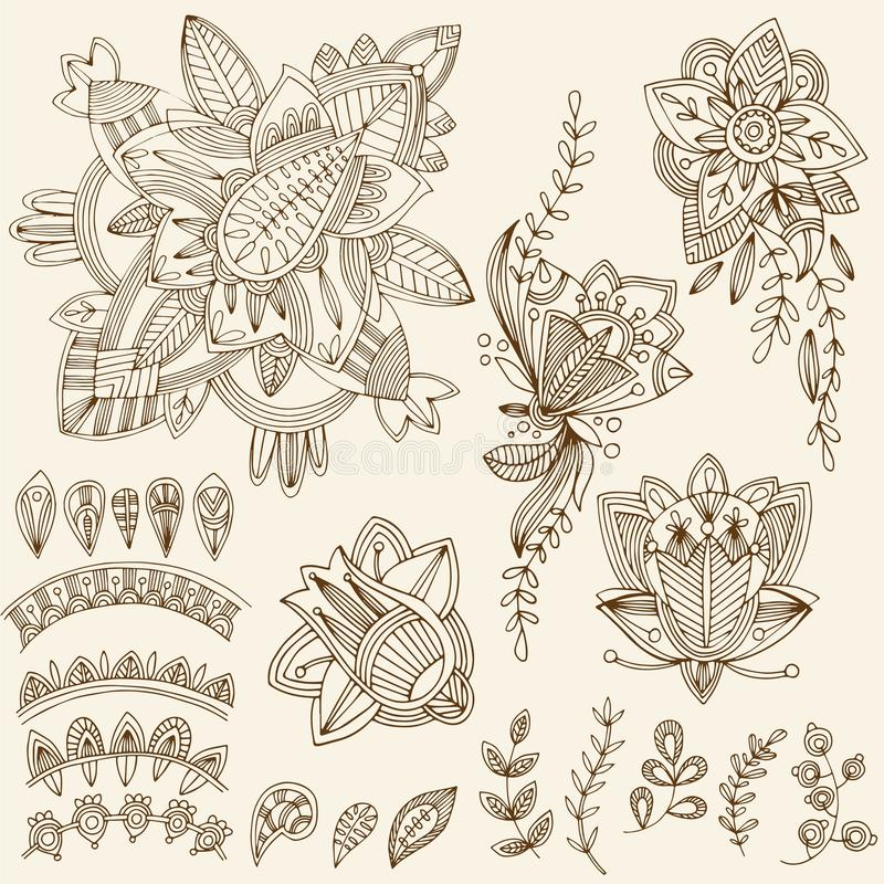 Abstract Flower Background With Decoration Elements For: Mehndi Tattoo Doodles Set 2- Abstract Floral Illustration