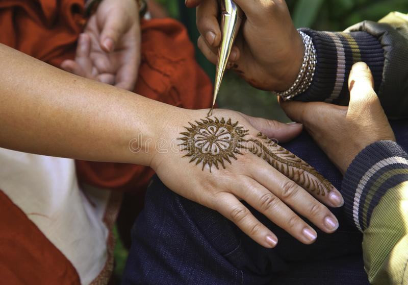 Mehndi Tattoo On Right Hand stock image