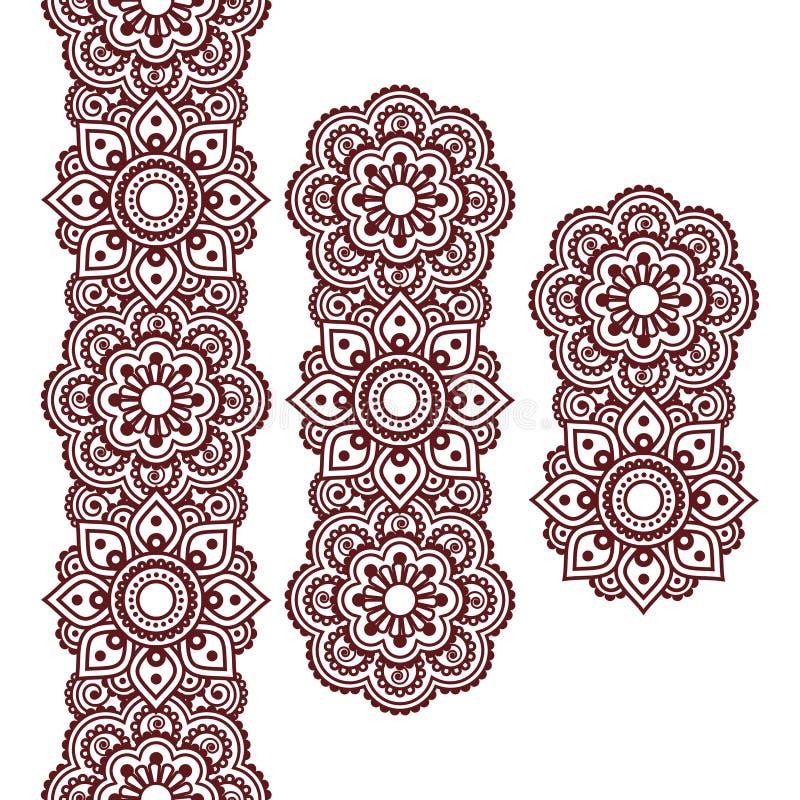 Mehndi, teste padrão longo da tatuagem indiana do marrom da hena, elementos do projeto ilustração royalty free
