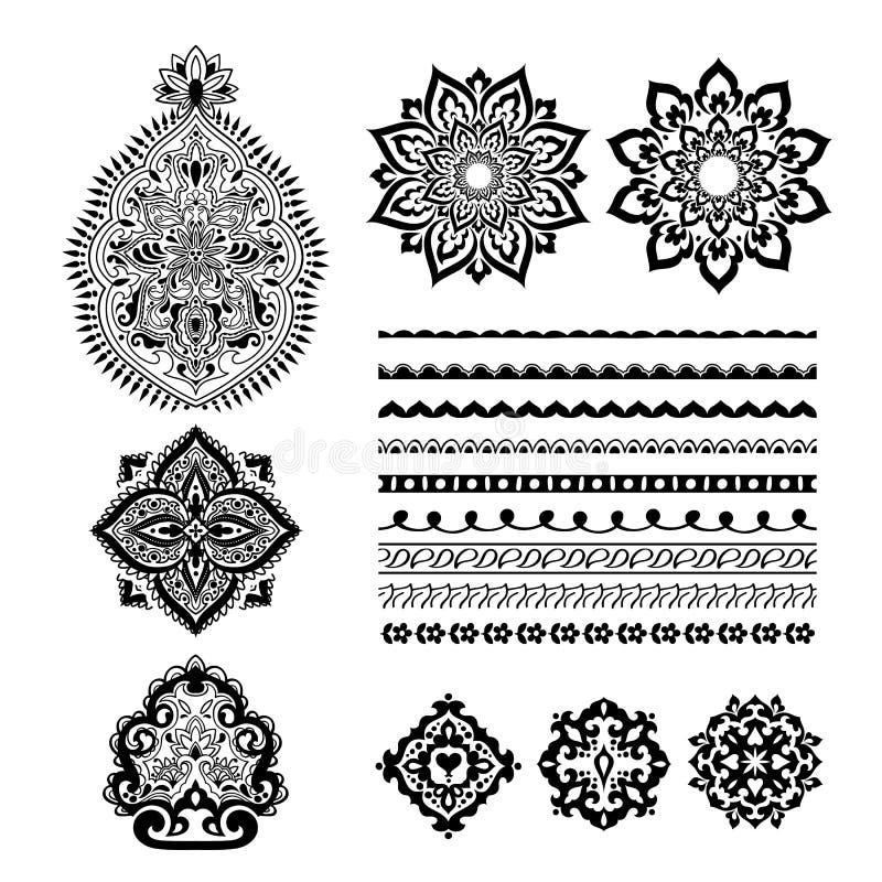 Mehndireeks van de hennatatoegering Decoratief ornamentOntwerp stock illustratie