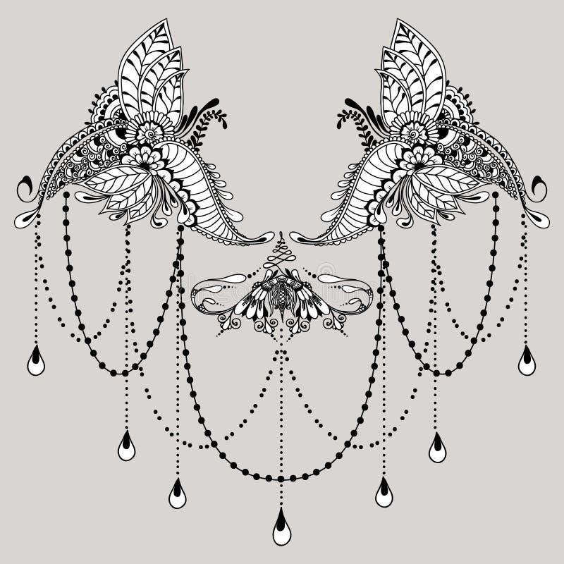 Mehndy Flowers Tattoo Template Stock Vector  Illustration Of Mehndi