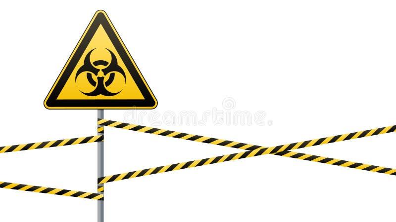 Mehr kennzeichnet innen mein Portefeuille Biologische Gefahr Eingezäunte Gefahrenzone Eine Säule mit einem Zeichen Photorealistic vektor abbildung