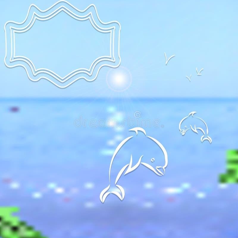 Mehr in meinem Portefeuille Helles unscharfes Meer und Himmel mit gemalten Seemöwen und Delphinen stock abbildung