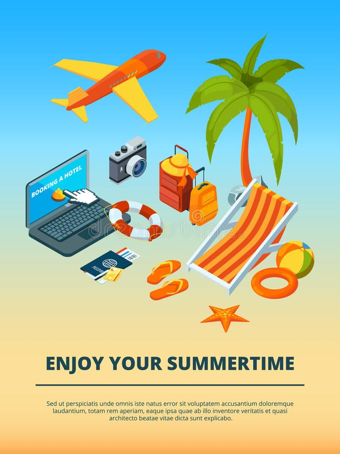 Mehr in meinem Portefeuille Verschiedene Gegenstände der Sommerzeit vektor abbildung