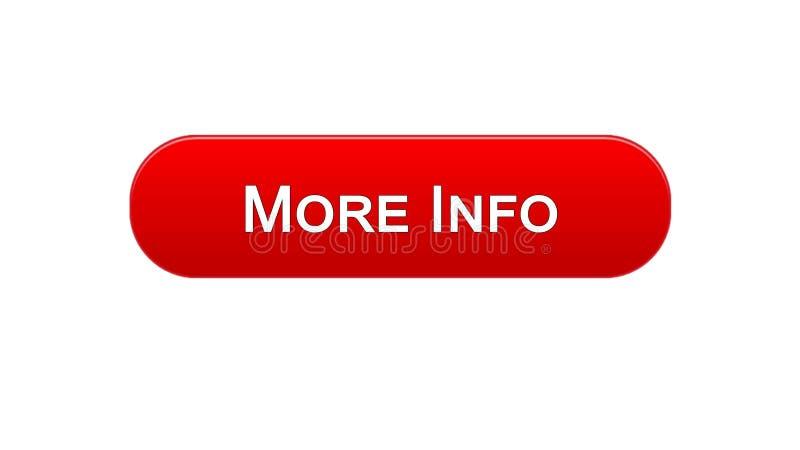 Mehr rote Farbe des Informationsnetzschnittstellenknopfes, Internetseitedesign, Anwendung stock abbildung