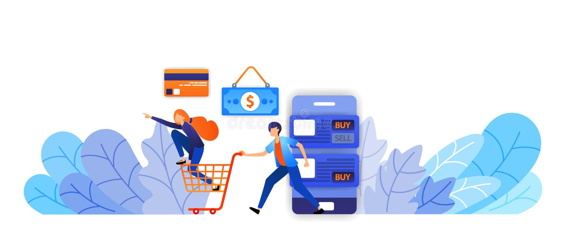 Mehr und mehr kaufen Spaß online mit einer Vielzahl von Zahlungswahlen vom Bargeld, Kreditkarten, Übertragungen Vektorillustratio stock abbildung
