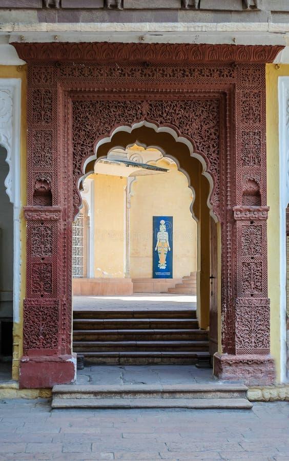 Mehrangarh堡垒,乔德普尔城,拉贾斯坦门道入口  库存图片