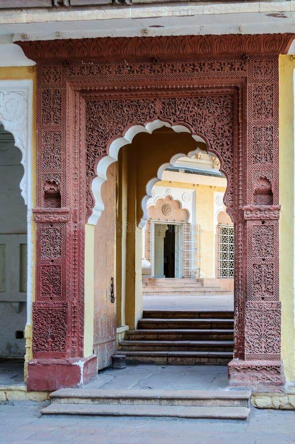 Mehrangarh堡垒,乔德普尔城,拉贾斯坦门道入口  免版税库存图片
