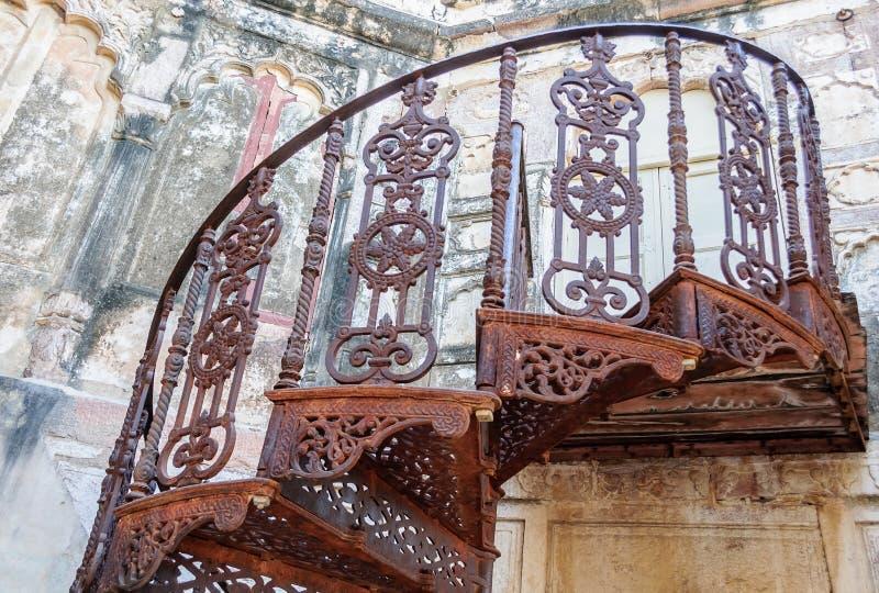 Mehrangarh堡垒,拉贾斯坦,乔德普尔城,印度螺旋形楼梯  免版税库存照片