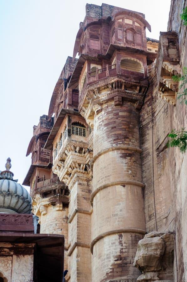 Mehrangarh堡垒,拉贾斯坦,乔德普尔城,印度Windows  免版税库存图片
