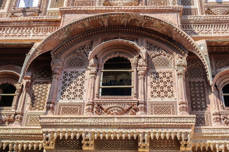 Mehrangarh堡垒,拉贾斯坦,乔德普尔城,印度Windows  免版税图库摄影