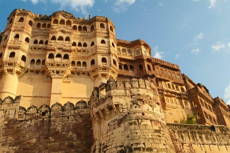 Mehrangarh或Mehran堡垒在乔德普尔城,拉贾斯坦,印度 免版税库存图片