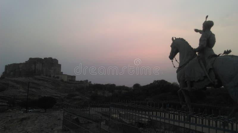 Mehrangarh città blu di Jodhpur forte, Ragiastan India fotografia stock libera da diritti