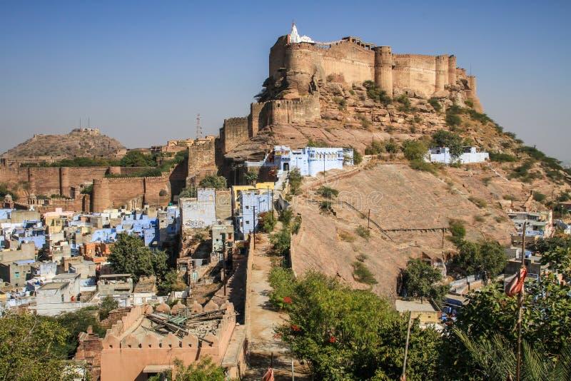 Mehrangarh fort, Błękitny miasto, Jodhpur, Rajasthan, India fotografia royalty free