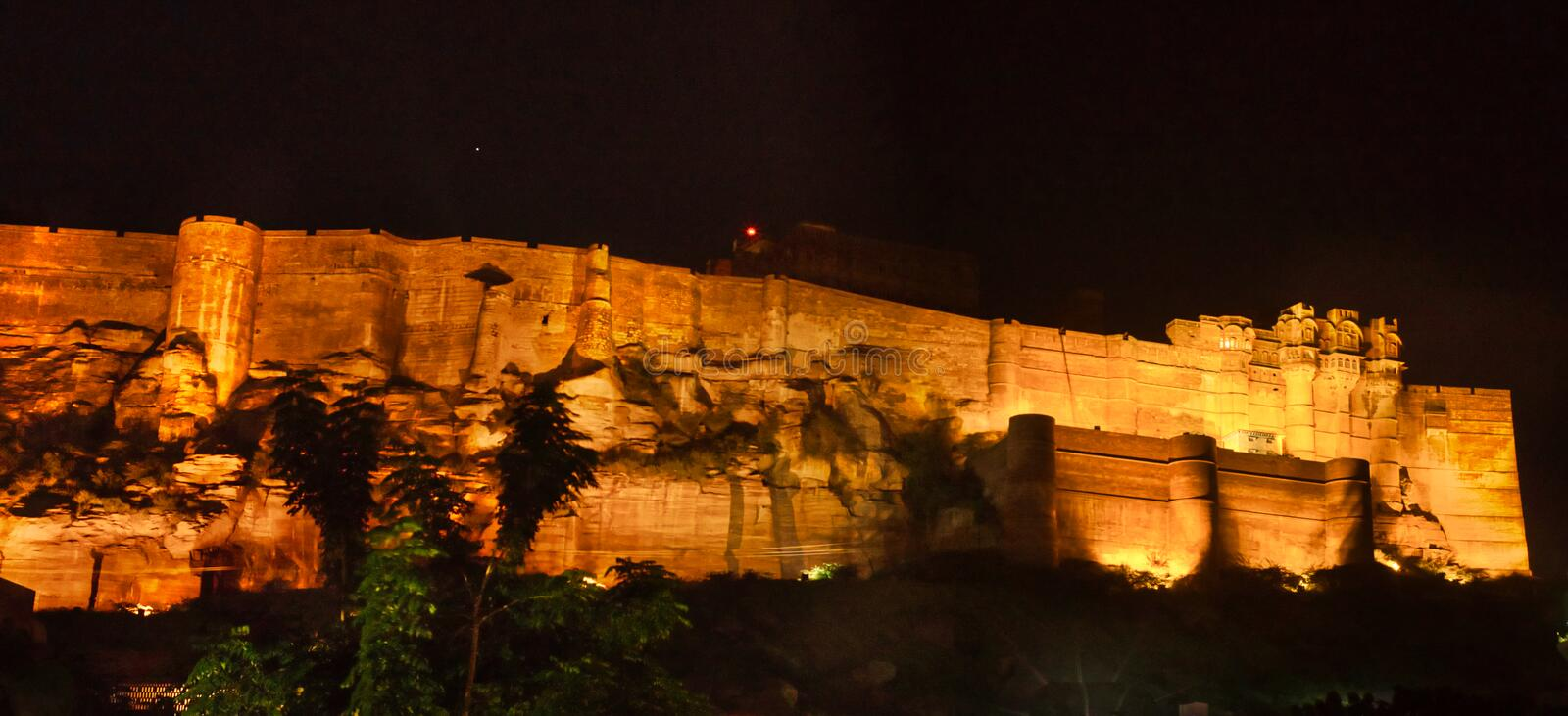Mehrangarh Fort India. Night time:  The Mehrangarh Fort in Jodhpur in Rajasthan in western India. The fort is situated 125 m above the city, and is enclosed by royalty free stock images