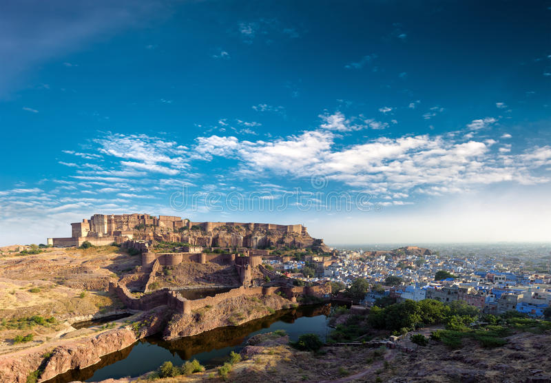 Mehrangarh fort in India, Rajasthan, Jodhpur. Indian palace. Architecture landmark stock photography