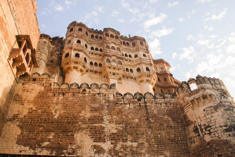 Mehrangarh fortu ramparts w popołudniowym słońcu fotografia stock