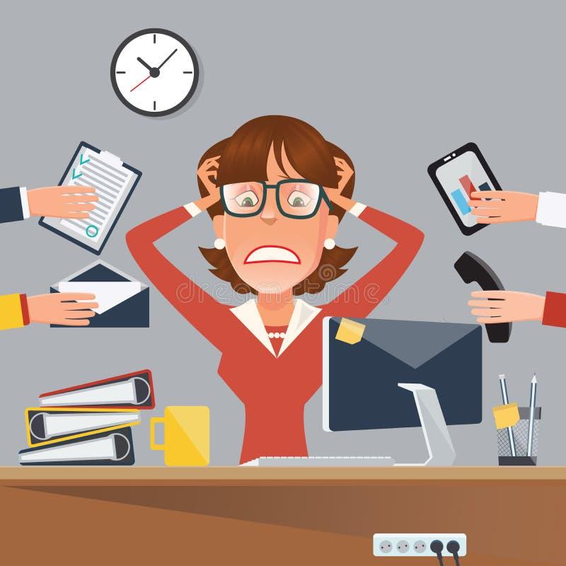 Mehrere Dinge gleichzeitig tun der betonten Geschäftsfrau im Büro-Arbeitsplatz lizenzfreie abbildung