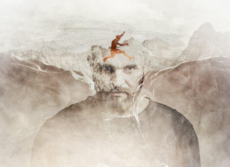 Mehrfachbelichtung des Mannes springend zwischen Berge stockfoto